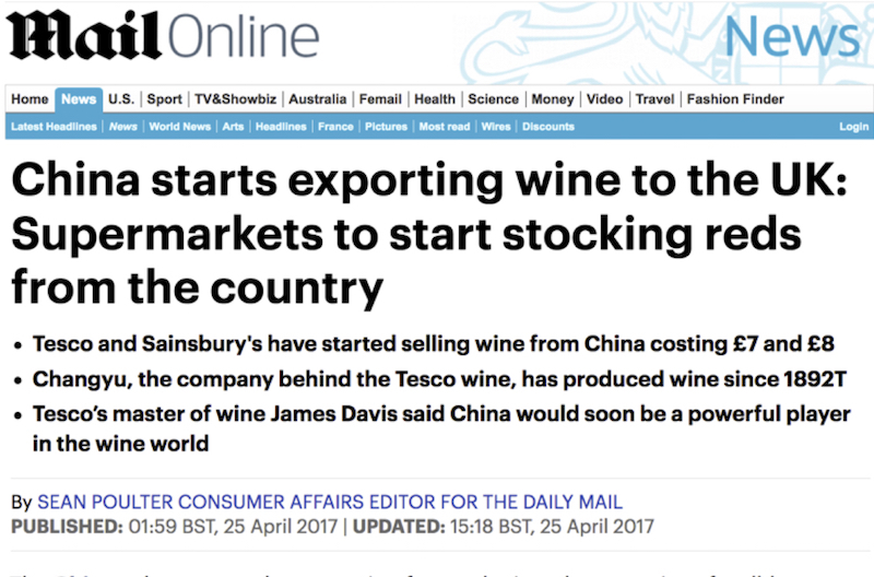 DAILY MAIL | China starts exporting wine to the UK | CCM